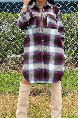Casual Fashion Plaid Long Sleeve Cardigan Pocket Single-Breasted Turn-DownCollar Shirts YW0480