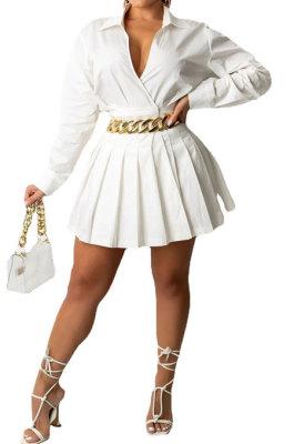 White Women Fashion Sexy Long Sleeve Turn-DownCollar Solid Color Ruffle Mini Dress R6446