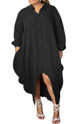 Black Women Pure Color Button Turn-DownCollar Single-Breasted Shirts Mid Waist Plus Midi Dress PH13258-3