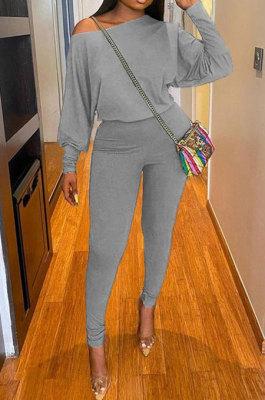 Gray Autumn Winter Pure Color Lantern Sleeve Loose Tops Pencil Pants Sport Sets F88394-5