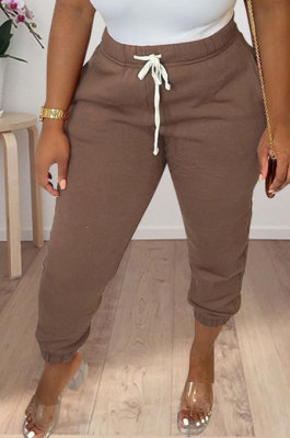 Brown Women Solid Color Thick Mid Waist Loose Pants PH13255-5