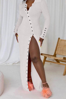 White Pure Color Long Sleeve Lapel Neck Button Front Slim Fitting Slit Dress JG059-3