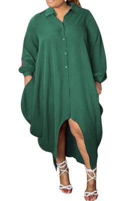 Green Women Pure Color Button Turn-DownCollar Single-Breasted Shirts Mid Waist Plus Midi Dress PH13258-2