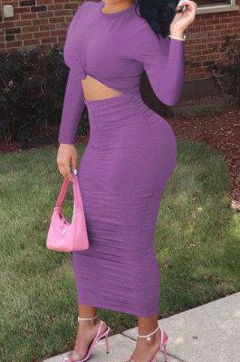 Light Purple Fashion Simple Long Sleeve Round Collar Ruffle Slim Fittint Hip Dress F88391-4