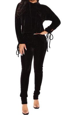 Black Winter Velvet Long Sleeve Hoodie Drawsting Ruffle Pants Two-Piece ZNN9112-3