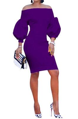 Purple Euramerican Women Pure Color Off Shoulder Sexy Lantern Sleeve Mid Waist Mini Dress R6129-9