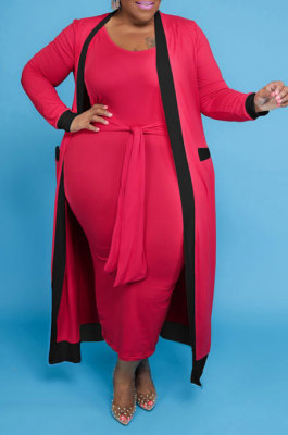 Red Women Casual Pure Color Stripe Spliced Long Sleeve Coat Tank Plus Skirts Sets NY5101-2
