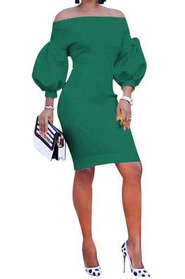 Green Euramerican Women Pure Color Off Shoulder Sexy Lantern Sleeve Mid Waist Mini Dress R6129-10