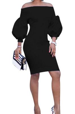 Black Euramerican Women Pure Color Off Shoulder Sexy Lantern Sleeve Mid Waist Mini Dress R6129-5