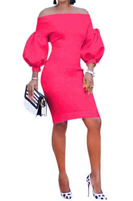 Rose Red Euramerican Women Pure Color Off Shoulder Sexy Lantern Sleeve Mid Waist Mini Dress R6129-8