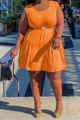 Orange Euramerican Casual Pure Color Sleeveless Plus Mini Dress PH13256-2