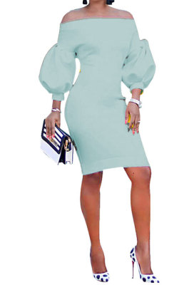 Sky Blue Euramerican Women Pure Color Off Shoulder Sexy Lantern Sleeve Mid Waist Mini Dress R6129-7