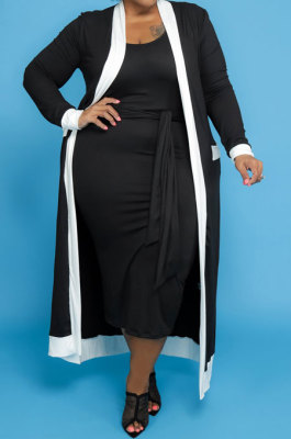Black Women Casual Pure Color Stripe Spliced Long Sleeve Coat Tank Plus Skirts Sets NY5101-1