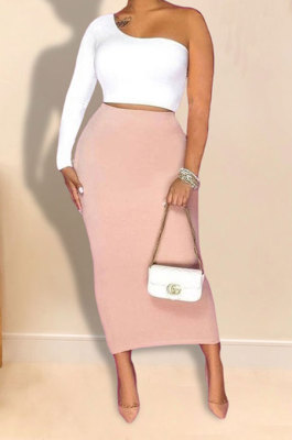 White Pink Women Sexy Fashion Solid Color Single Sleeve Bodycon Skirts Sets YY5306-1