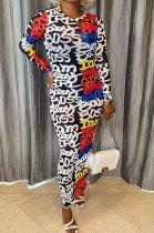 White Women Printing Mesh Spaghetti Long Sleeve Round Collar Long Dress RB3203-1