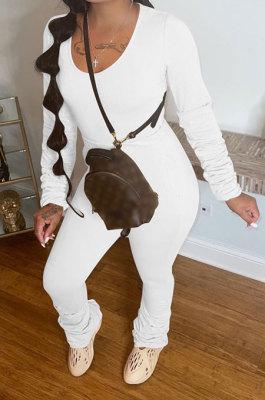 White Botton Blend Pure Color Long Sleeve V Neck T-Shirts Pencil Pants Slim Fitting Ruffle Sets DR88124-3