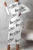 White Autumn Simple Letter Print Long Sleeve High Neck Collect Waist Bodycon Dress BM7214-2