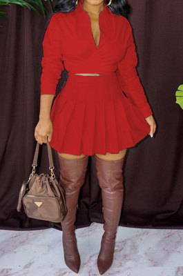 Red Women Casual Pure Color Long Sleeve Bowknot Ruffle Skirts Sets WXY6618-2