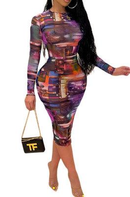Purple Women Printing Sexy Perspectivity Round Collar Mid Waist Midi Dress YY5303-2
