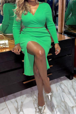 Green Women Sexy Fashion Pure Color Ribber Split Skirts Sets YY5304-3