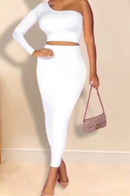 White Women Sexy Fashion Solid Color Single Sleeve Bodycon Skirts Sets YY5306-2
