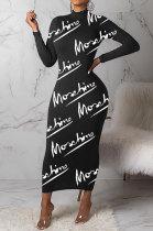 Black Autumn Simple Letter Print Long Sleeve High Neck Collect Waist Bodycon Dress BM7214-1