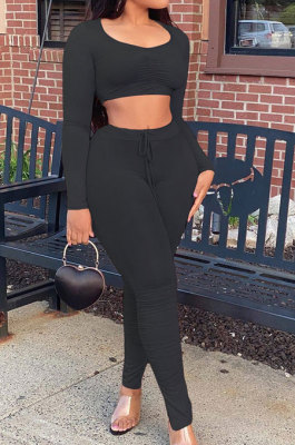Black Casual Pure Color Long Sleeve Dew Waist Pants Sets YY5307-2