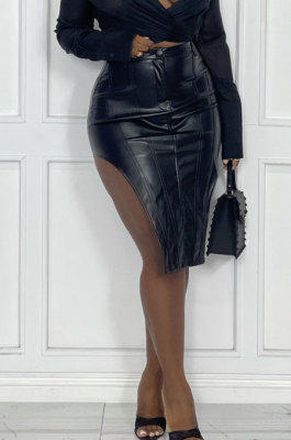 Black Fashion Elastic PU Leather Slit Button Zipper Hip Skirts BS1287-1