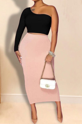 Black Pink Women Sexy Fashion Solid Color Single Sleeve Bodycon Skirts Sets YY5306-3