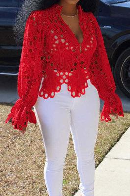 Red Euramerican Women Hole Sexy Horn Sleeve Bodycon Cardigan T Shirts XQ1149-4