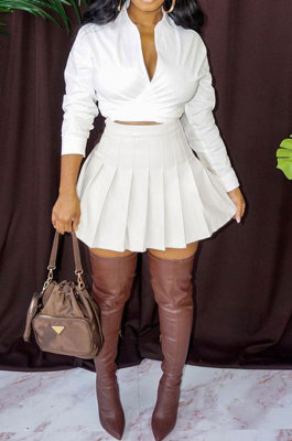White Women Casual Pure Color Long Sleeve Bowknot Ruffle Skirts Sets WXY6618-1