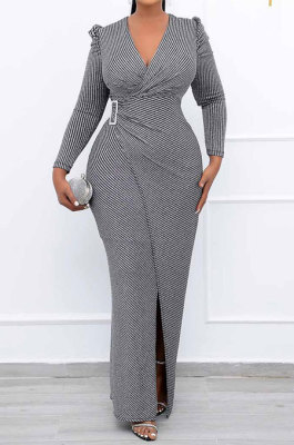 Gray Women Fashion Line Sexy Ruffle V Collar Mid Waist Long Dress YY5309-1