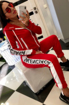 Letter Side Printed Hoodied Pants Set in Red