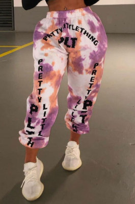 Pink Purple Women Printing Contrast Color Sport Casual Pants YY5314