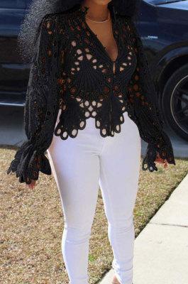 Black Euramerican Women Hole Sexy Horn Sleeve Bodycon Cardigan T Shirts XQ1149-5