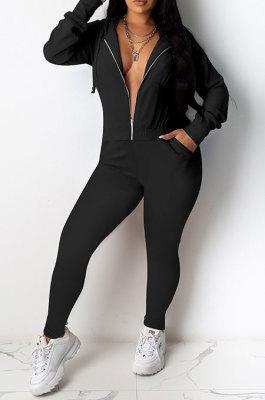 Black Casual Newest Long Sleeve Zip Front Hoodie Pencil Pants Sport Sets DR88126-3