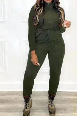 Dark Green Women Pure Color Pocket Zipper Casual Jumpsuit RB3208-5