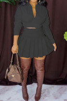 Black Women Casual Pure Color Long Sleeve Bowknot Ruffle Skirts Sets WXY6618-3