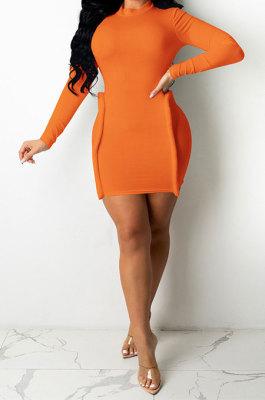Orange Simple Newest Ribber Long Sleeve High Neck Elastic Slim Fitting Hip Dress DR88123-4