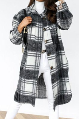 Black Winter Plaid Print Long Sleeve Lapel Neck Single-Breasted Woolen Cloth Long Coat SZR20247-1