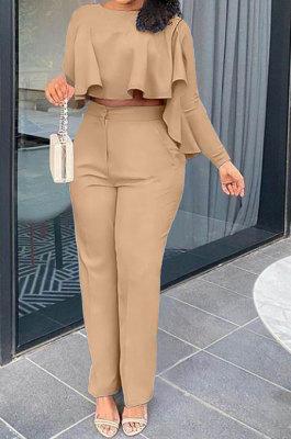 Khaki Women Irregular Tops Flounce Zipper Pocket Pure Color Straight Leg Pants Two-Pieces GL6509-5