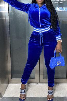 Royal Blue Wholesale Women Velvet Webbint Spliced Long Sleeve Hoodie Bodycon Pants Casual Sport Sets LML271-2