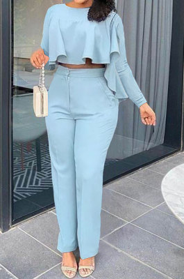 Sky Blue Women Irregular Tops Flounce Zipper Pocket Pure Color Straight Leg Pants Two-Pieces GL6509-1