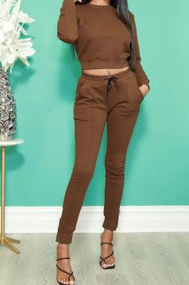 Brown Fashion Simple Long Sleeve Round Neck Jumper Zipper Slit Pencil Pants Sets DR88127-2