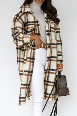 Brown Winter Plaid Print Long Sleeve Lapel Neck Single-Breasted Woolen Cloth Long Coat SZR20247-3