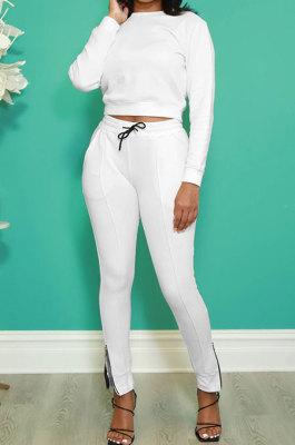 White Fashion Simple Long Sleeve Round Neck Jumper Zipper Slit Pencil Pants Sets DR88127-3