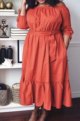 Orange Fashion A Wrod Shoulder Long Sleeve Collect Waist Swing Solid Color With Beltband Dress LS6468