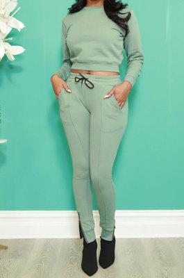 Green Fashion Simple Long Sleeve Round Neck Jumper Zipper Slit Pencil Pants Sets DR88127-1