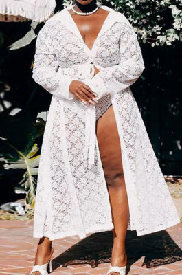 White Women Trendy Perspective Lace Sexy V Collar Tied Plus Size Tops Long Jacket CCY1675