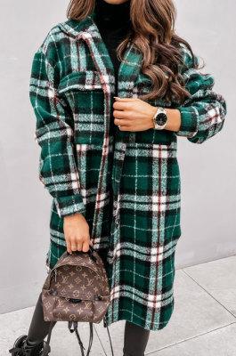 Greem Wholesale Winter Plaid Print Long Sleeve Lapel Neck Single-Breasted Woolen Cloth Fashion Coat SZR20282 -1